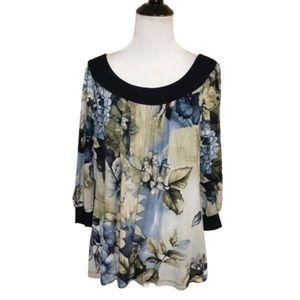 Karen Kane Blues & Beiges Floral 3/4 Sleeve Top Lg